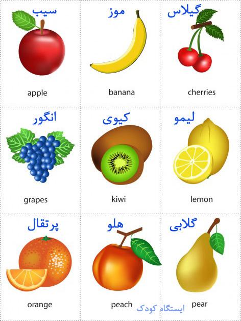 فلش کارت آموزش میوه ها به دو زبان انگلیسی و فارسی