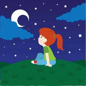 دختر و ماه و شب - عکس کارتونی