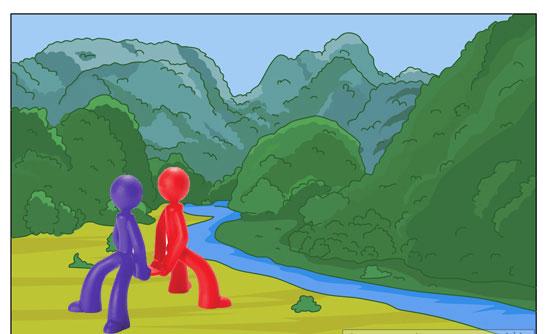 آدمک های قرمز و آبی در کوه