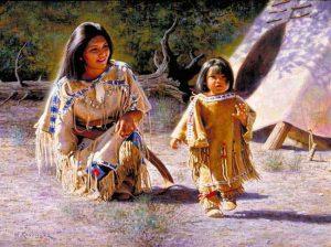 -و-مادر-سرخ-پوست-300x224 رنگ پوست انسان های کره زمین و آشنایی با نژادهای مختلف