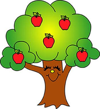 قصه صوتی آسمان آبی - عکس کارتونی درخت سیب