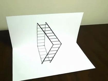 اموزش نقاشی نردبان سه بعدی