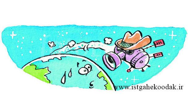 spy-satellite-cartoon آشنایی با موشک و ماهواره های فضایی و موارد استفاده آنها