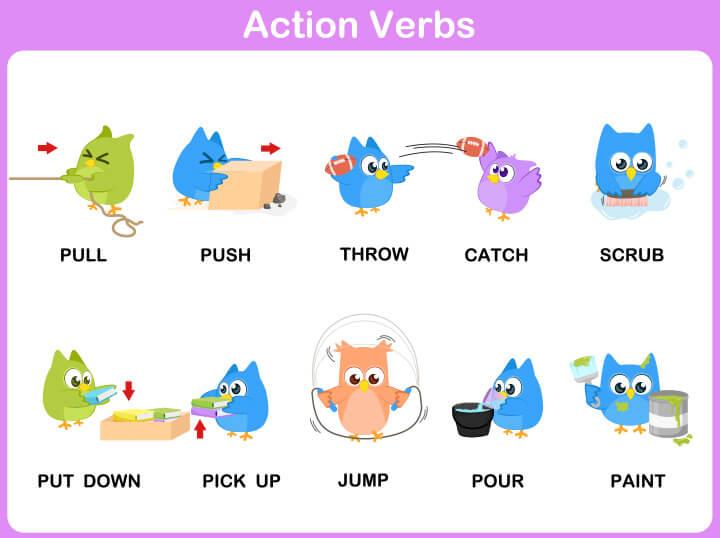 Action-verbs 15 برگه رایگان انگلیسی برای آموزش و تمرین کودکان