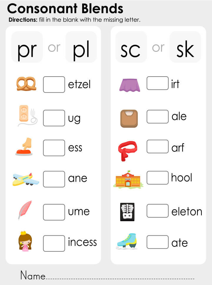 Consonant-blends 15 برگه رایگان انگلیسی برای آموزش و تمرین کودکان