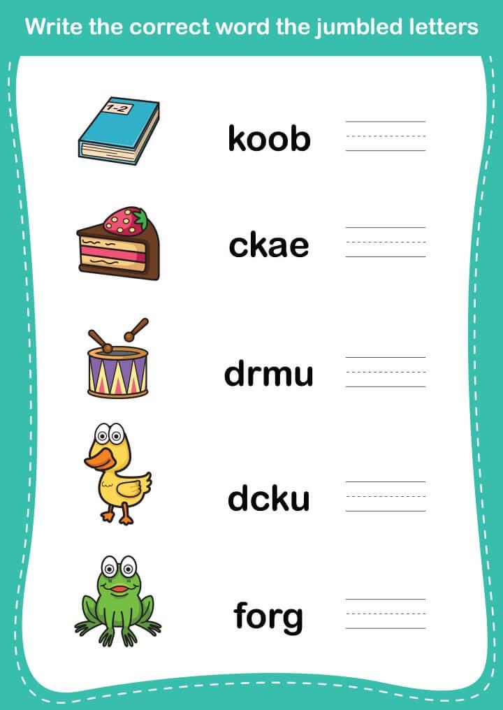 Correct-the-jumbled-letters 15 برگه رایگان انگلیسی برای آموزش و تمرین کودکان