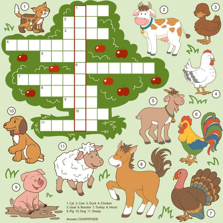 Crosswords 15 برگه رایگان انگلیسی برای آموزش و تمرین کودکان