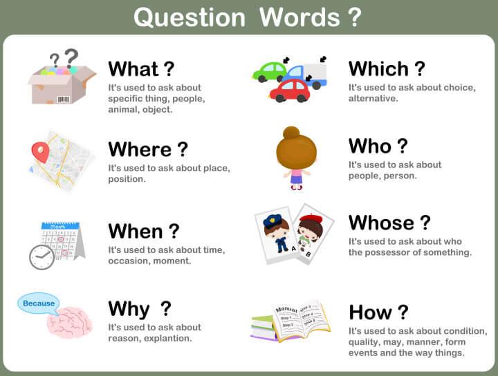Question-words 15 برگه رایگان انگلیسی برای آموزش و تمرین کودکان