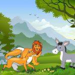 عکس کارتونی الاغ و شیر و روباه در جنگل
